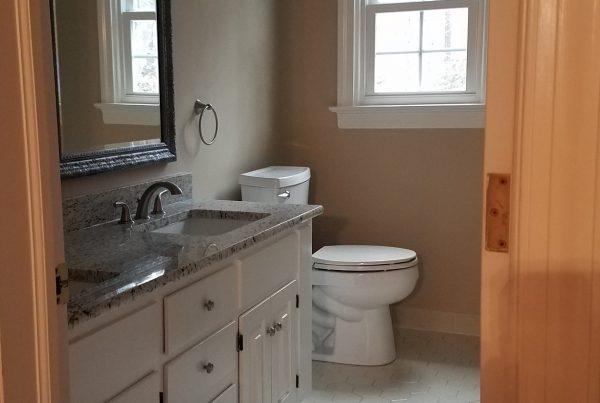woodland pond bathroom after